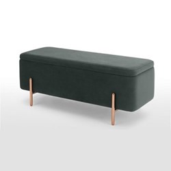 Asare Storage bench, 44 x 110 x 44cm, midnight grey velvet and copper