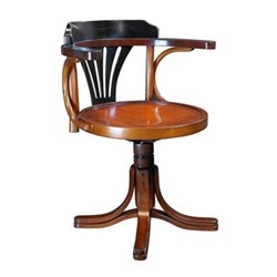 Purser Chair, H78.5 x W61 x L55cm, black/honey distreseed maple