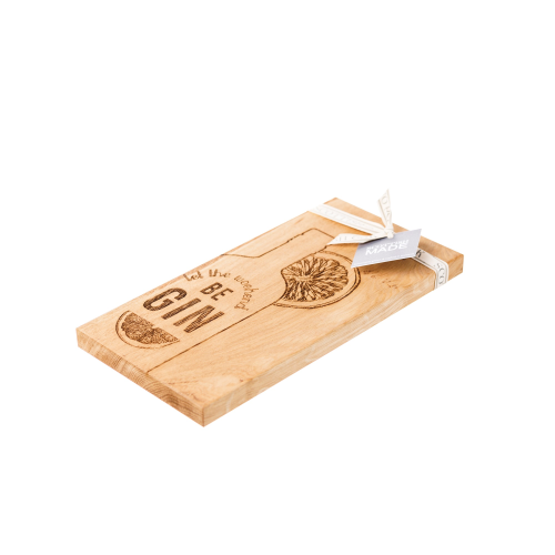 Let the Weekend be Gin Small serving board, L30 x W15 x H2cm, Oak