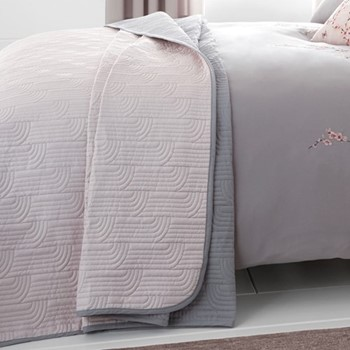 Embroidered Blossom Bedspread, 240 x 260cm, pink
