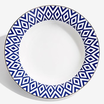 Aragon Rim soup bowl, 22.8cm, midnight blue & white