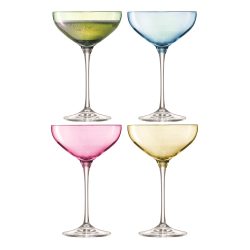 Polka Set of 4 Champagne saucers, 390ml, assorted pastels