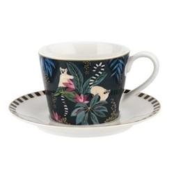 Tahiti - Lemur Teacup & saucer, navy