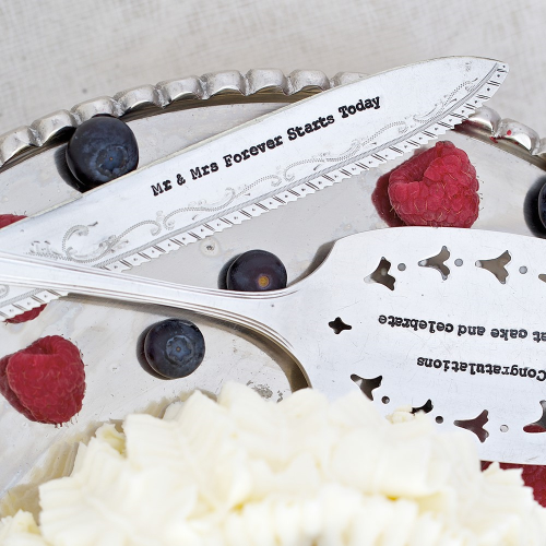Mr & Mrs Forever Starts Today Cake knife, 21cm, Silver Plated