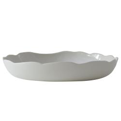 Plume Deep round dish, 27.5cm, White Pearl