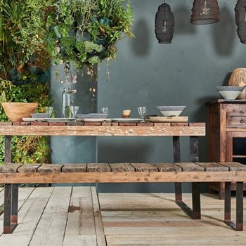 Oso Wooden dining table, 78 x 180 x 94.5cm, reclaimed wood & iron