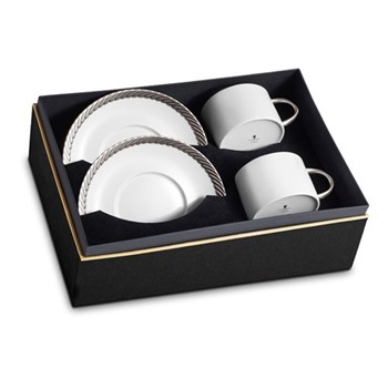 Corde Pair of teacups and saucers, platinum