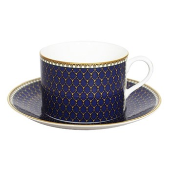 Antler Trellis Teacup & saucer, midnight blue and gold