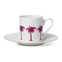 Palm Tree Espresso cup and saucer, gold rim