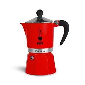 Rainbow Aluminium stovetop coffee maker (3 cup), red