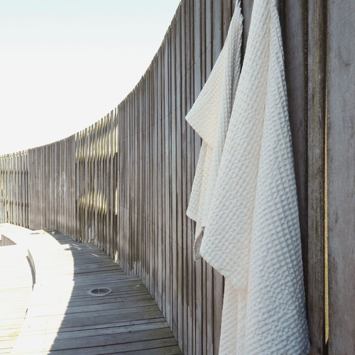 Waffle Bath towel, 150 x 50cm, Natural White