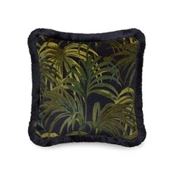Medium fringed velvet cushion 45 x 45cm