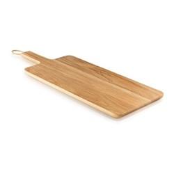 Wooden cutting board, 44 x 22cm, oak/leather