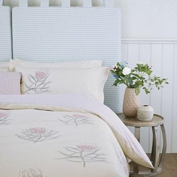 Protea Flower King size duvet cover, L220 x W230cm, sea pink