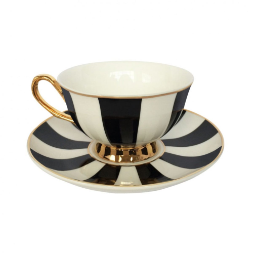 Stripy Teacup and saucer, H6x Dia15cm, Black/White