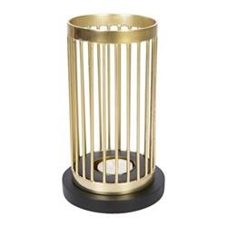 Column Tealight holder, H18cm, gold wire