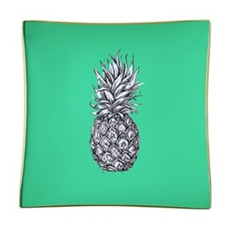 Pineapple Square decoupage tray, 15cm, mint green/gold edging