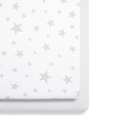 Stars Set of 2 crib fitted sheets, W35 x L80cm, Grey/White