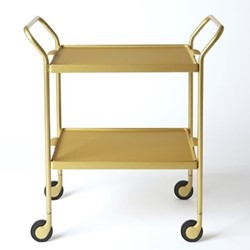 Serving trolley with two serving trays, L53.5 x W35.5 x H65cm, brushed gold