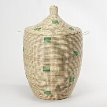 Ali Baba Laundry basket, 80 x 43cm, natural/mint squares