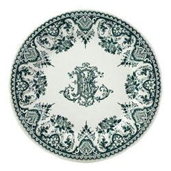 Les Depareillées - Monogramme Set of 6 dinner plates, 27cm, green