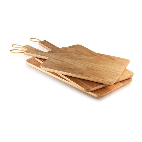 Nordic Kitchen Wooden cutting board, 38 x 26cm, Oak/Leather