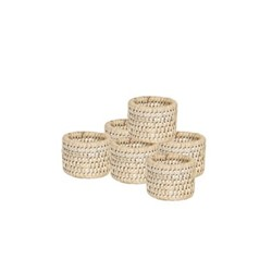 Ashcroft Set of 6 napkin rings, H4 x D5.5cm, rattan