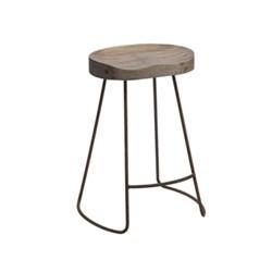 Loko Short stool, H60 x L38.5 x W28cm, mango wood and rust