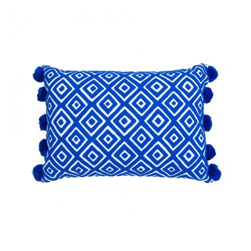 Kabuki Rectangular cushion with pompoms, L50 x W35cm, Indigo/White