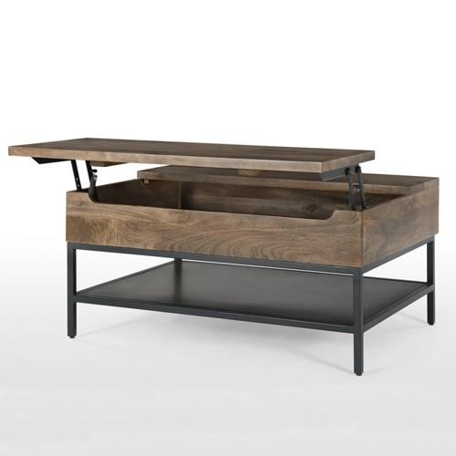 Lomond Coffee table with storage, H45 x W90 x D65cm, mango wood/black