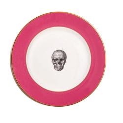 Skull Dinner plate, 27cm, Crisp White With Raspberry Pink Border/Burnished Gold Edge