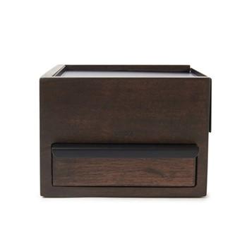 Mini stowit Jewelry box, 15 x 17 x 11cm, black/walnut