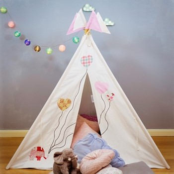 Ellie & The Balloons Teepee bundle, L120 x W120 x H145cm, cream