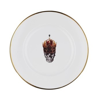 Skull in Red Crown Dinner plate, 27cm, crisp white/burnished gold edge