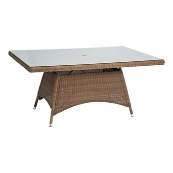 San Marino Table with glass top, H74 x W100 x D160cm, red pine