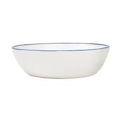 Abbesses Set of 4 pasta bowls, 17.2 x 4.5cm, Blue Rim