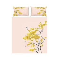 Chinese Tree Double bed linen set, pink/yellow - sateen finish