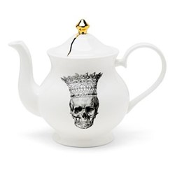Skull in Crown Large teapot, H18 x W22 x D10cm, crisp white/burnished gold details