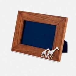 "The Highland Safari Collection - Giraffe Landscape photo frame, 8 x 6"", Rhodesian teak and silver plated brass"