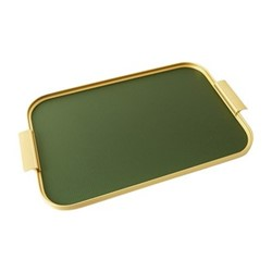 Ribbed serving tray, L46 x W30cm, diamond forest green