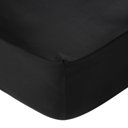 300 Thread Count Egyptian Cotton Super king fitted sheet, W180 x L200 x H35cm, Black