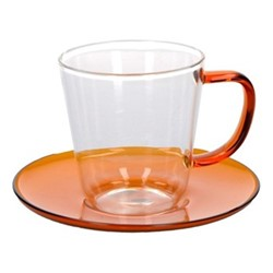 Colour Teacup and saucer, 300ml, amber