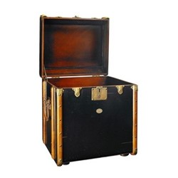 Stateroom Trunk, H56 x W53 x L45cm, black/honey distressed maple/pine
