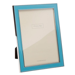 """Enamel Range Photograph frame, 5 x 7"""" with 15mm border, tiffany blue with silver plate"""