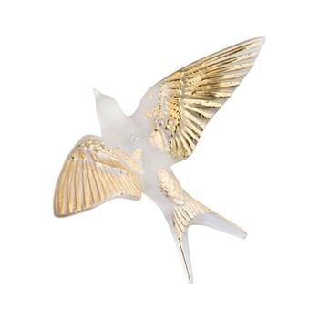 Hirondelles Wall swallow, H7.6 x L15 x W2.13cm, gold stamped/satin finish