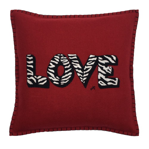 Zebra Love Cushion, 38 x 38cm, Red