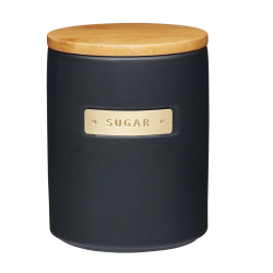 Sugar canister, H15 x D11cm, Black Stoneware/Bamboo