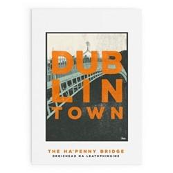 Dublin Town Collection - Ha'Penny Bridge Framed print, A4 size, multicoloured