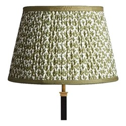 Straight Empire Block printed lampshade, 35cm, temple green