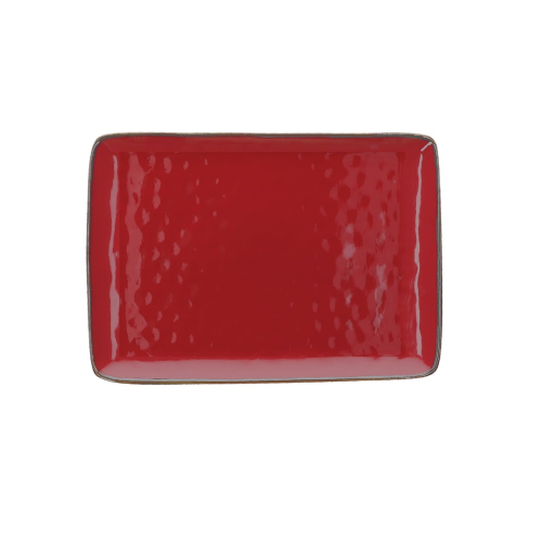 Concerto Pair of rectangular trays, L27 x W19cm, fire red